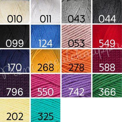 pieni neulekauppa villasukat tilauksesta värikartta