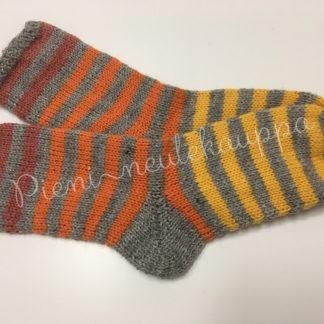 34-35-36 Sileävartiset raitasukat harmaa-oranssi-keltainen #262-0