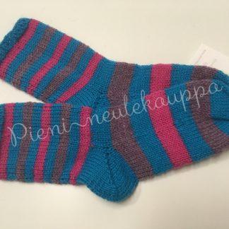 34-35-36 Sileävartiset raitasukat sininen-pinkki-violetti #266-0